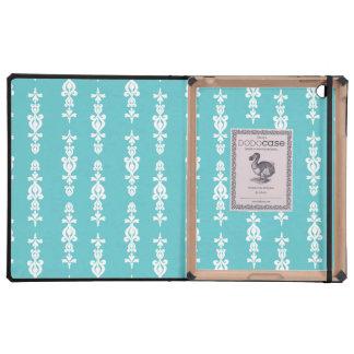 ornate wallpaper pattern light blue white iPad case