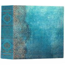Ornate Weathered Blue Old Book 3 Ring Binder