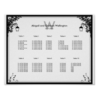 Ornate Wedding Seating Chart Poster