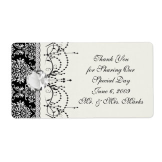 ornate white and black damask classic label