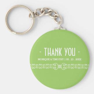 Ornate White Belt -Spring Green Wedding Thank You Keychain