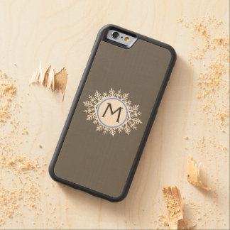 Ornate White Bright Blue Snowflake Monogram Gray Carved Maple iPhone 6 Bumper Case
