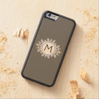 Ornate White Bright Blue Snowflake Monogram Gray Carved® Maple iPhone 6 Bumper Case