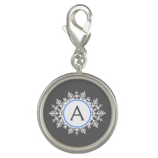 Ornate White Bright Blue Snowflake Monogram Gray Charms