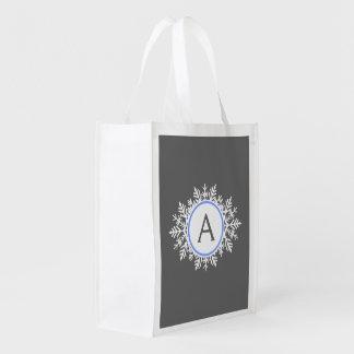 Ornate White Bright Blue Snowflake Monogram Gray Grocery Bag