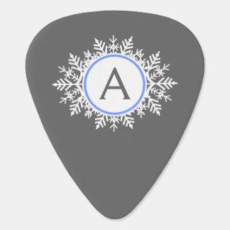 Ornate White Bright Blue Snowflake Monogram Gray Guitar Pick