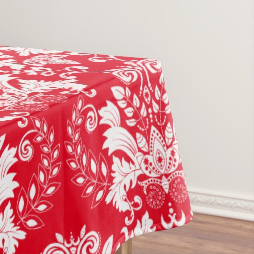 Ornate White Floral Damasks Red Background Tablecloth