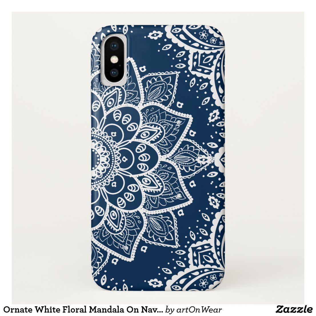 Ornate White Floral Mandala On Navy Blue