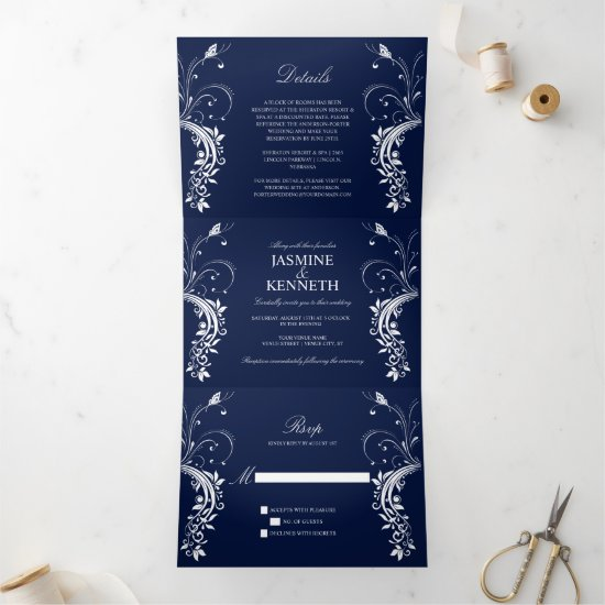 Ornate White Floral Swirls on Navy Blue Wedding Tri-Fold Invitation