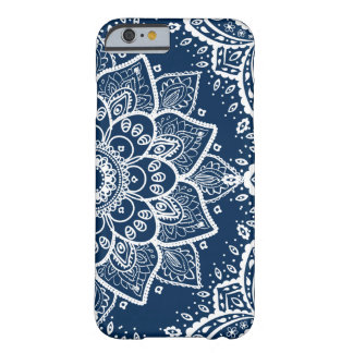 Ornate White Mandala On Navy Blue Barely There iPhone 6 Case