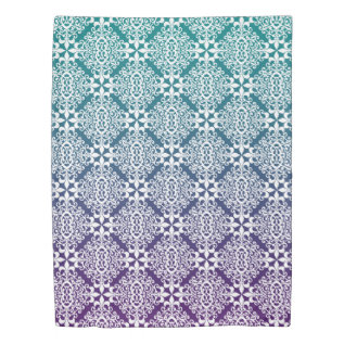 Ornate White Purple And Teal Damask With Gradient Duvet Cover at Zazzle