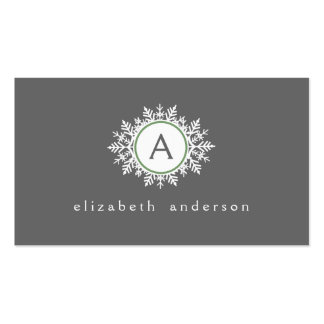 Ornate White Sage Green Snowflake Monogram Gray Business Cards
