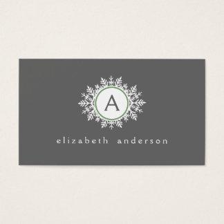 Ornate White Sage Green Snowflake Monogram Gray Business Card