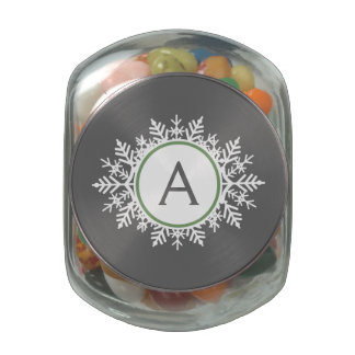 Ornate White Sage Green Snowflake Monogram Gray Glass Jar