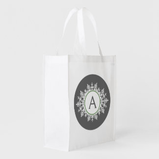 Ornate White Sage Green Snowflake Monogram Gray Grocery Bags