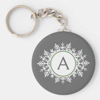 Ornate White Sage Green Snowflake Monogram Gray Keychain