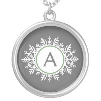 Ornate White Sage Green Snowflake Monogram Gray Silver Plated Necklace