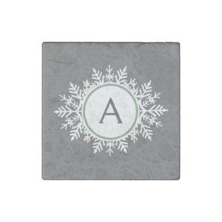 Ornate White Sage Green Snowflake Monogram Gray Stone Magnet