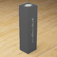 Ornate White Sage Green Snowflake Monogram Gray Wine Gift Box
