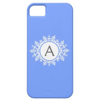 Ornate White Snowflake Monogram Family Bright Blue iPhone SE/5/5s Case