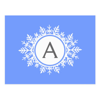 Ornate White Snowflake Monogram Family Bright Blue Postcard