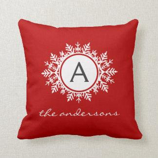 Ornate White Snowflake Monogram Family Festive Red Throw Pillow