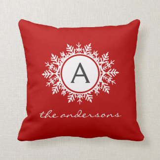 Ornate White Snowflake Monogram Family Festive Red Throw Pillow