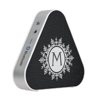 Ornate White Snowflake Monogram on Black Speaker