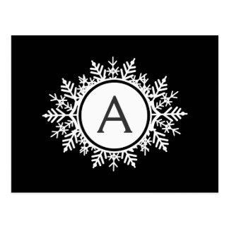 Ornate White Snowflake Monogram on Black Postcard