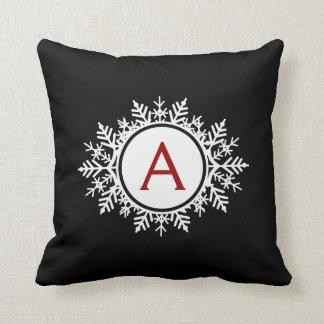 Ornate White Snowflake Monogram on Black - Red Throw Pillows