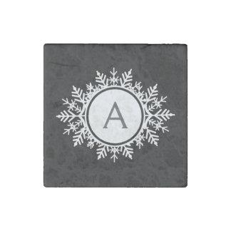 Ornate White Snowflake Monogram on Black Stone Magnet