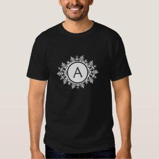 Ornate White Snowflake Monogram on Black T-shirt