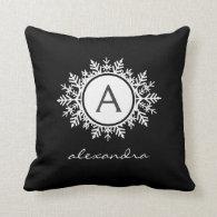 Ornate White Snowflake Monogram on Black Throw Pillow