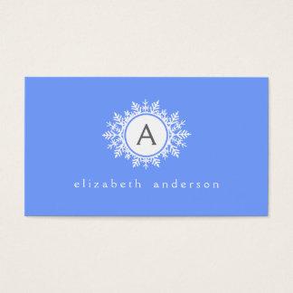 Ornate White Snowflake Monogram on Bright Blue Business Card