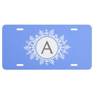 Ornate White Snowflake Monogram on Bright Blue License Plate