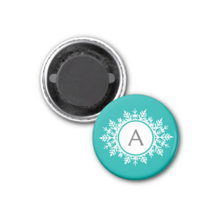 Ornate White Snowflake Monogram on Bright Teal 1 Inch Round Magnet