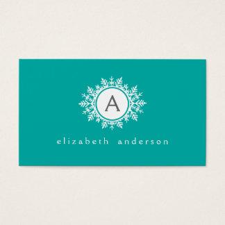 Ornate White Snowflake Monogram on Bright Teal Business Card