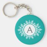 Ornate White Snowflake Monogram on Bright Teal Key Chain