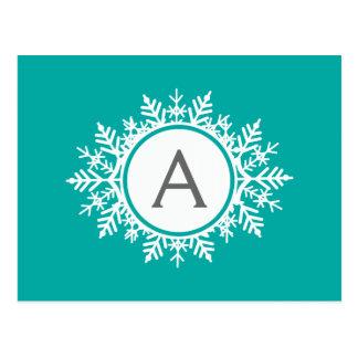 Ornate White Snowflake Monogram on Bright Teal Postcard