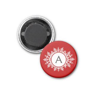 Ornate White Snowflake Monogram on Festive Red 1 Inch Round Magnet