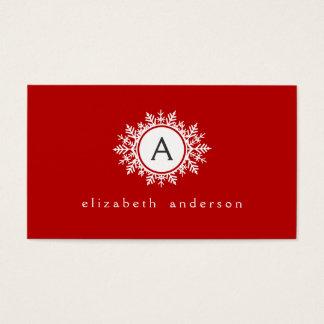 Ornate White Snowflake Monogram on Festive Red Business Card