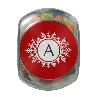 Ornate White Snowflake Monogram on Festive Red Glass Candy Jars