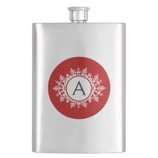 Ornate White Snowflake Monogram on Festive Red Hip Flask