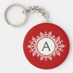 Ornate White Snowflake Monogram on Festive Red Key Chains