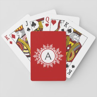 Ornate White Snowflake Monogram on Festive Red Playing Cards