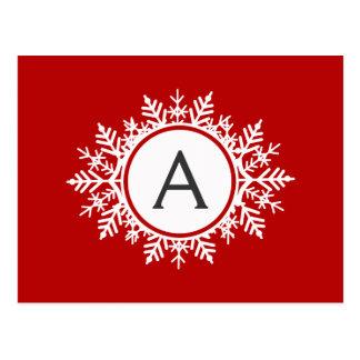 Ornate White Snowflake Monogram on Festive Red Postcard