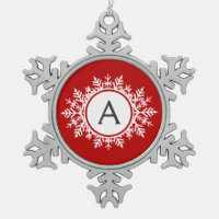 Ornate White Snowflake Monogram on Festive Red Snowflake Pewter Christmas Ornament