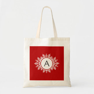 Ornate White Snowflake Monogram on Festive Red Tote Bag