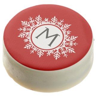 Ornate White Snowflake Monogram on Festive Red Chocolate Covered Oreo