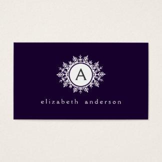 Ornate White Snowflake Monogram on Purple Business Card